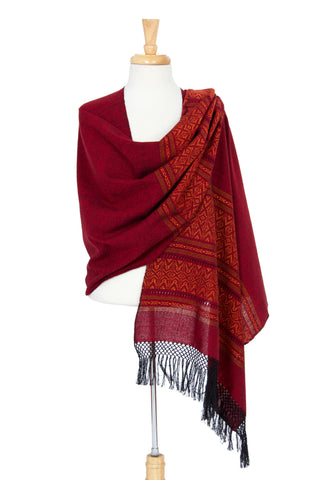 Zapotec cotton rebozo shawl, 'Red Zapotec Treasures'