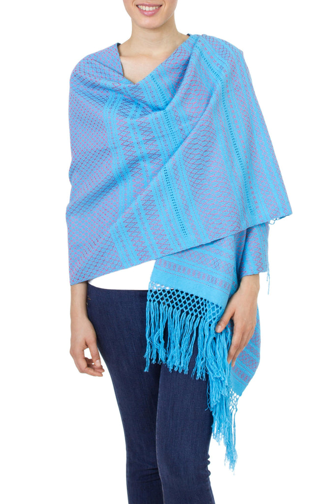 'Sky Fiesta' Handwoven Blue Cotton Zapotec Rebozo Shawl with Pink Motifs