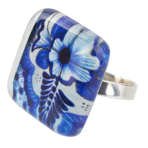 'Talavera Fantasy' Talavera Style 925 Silver & Art Glass Cocktail Ring