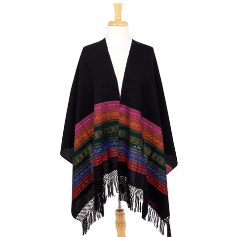 Zapotec Cotton Rebozo Shawl 'Zapotec Night Splendor'