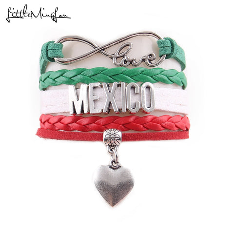 Infinity Love MEXICO Bracelet with Heart Charm