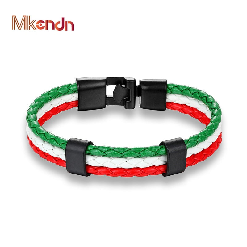Mexico National Flag Leather Bracelet