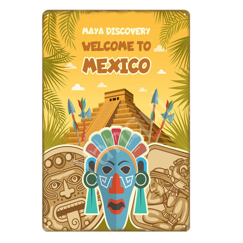 """Welcome To Mexico/Pyramid"" Vintage Metal Tin Sign"