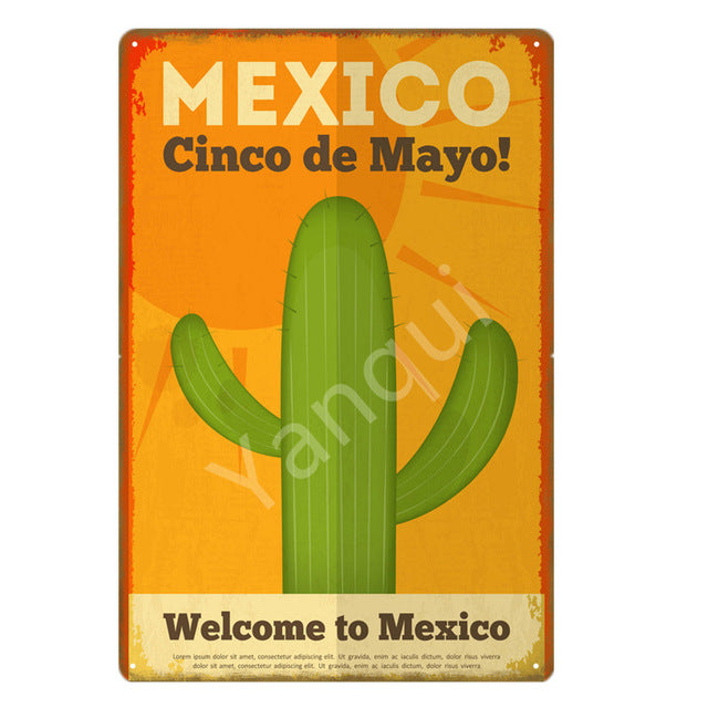 """Mexico Cinco De Mayo/Cactus"" Vintage Metal Tin Sign"