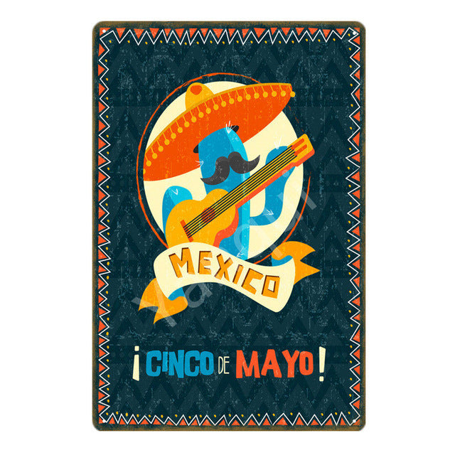 """Cinco de Mayo/Cactus"" Vintage Metal Tin Sign"