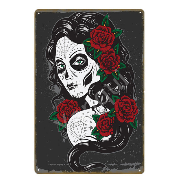 """Catrina"" Vintage Metal Tin Sign"