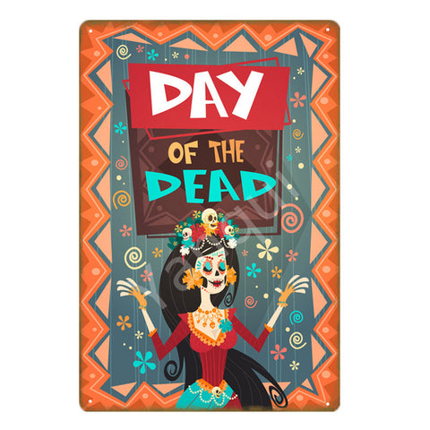 """Day of the Dead/Catrina"" Vintage Metal Tin Sign"