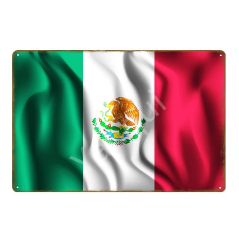 """Bandera Mexico/New"" Vintage Metal Tin Sign"