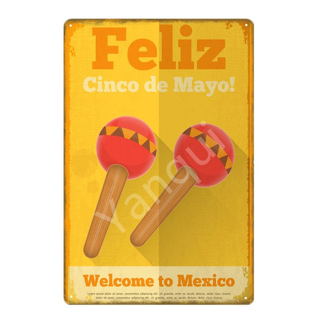 """Feliz Cinco de Mayo/Maracas"" Vintage Metal Tin Sign"
