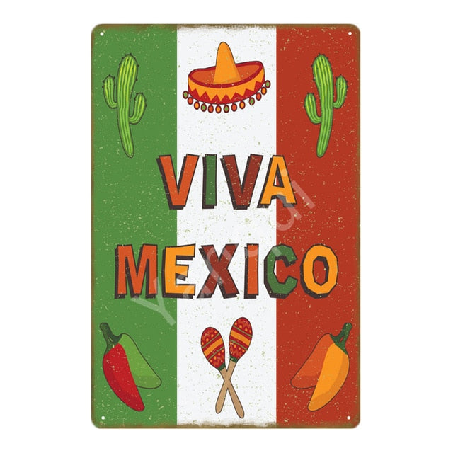 """Viva Mexico"" Vintage Metal Tin Sign"