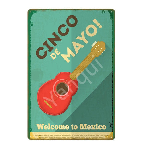 """Cinco de Mayo/Guitarra"" Vintage Metal Tin Sign"