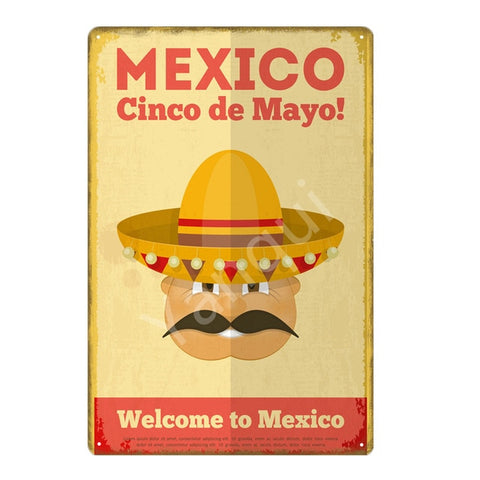 """Mexico Cinco de Mayo"" Vintage Metal Tin Sign"