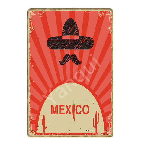 """Mexico"" Vintage Metal Tin Sign"