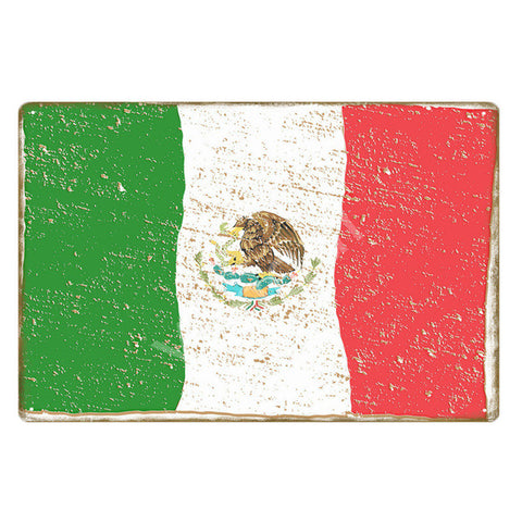 """Bandera Mexico"" Vintage Metal Tin Sign"