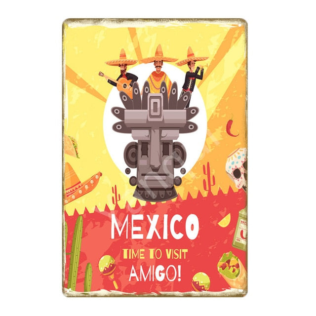 """Time to Visit Amigo"" Vintage Metal Tin Sign"