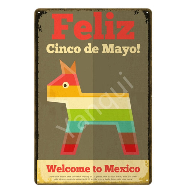 """Feliz Cinco de Mayo/Pinata"" Vintage Metal Tin Sign"