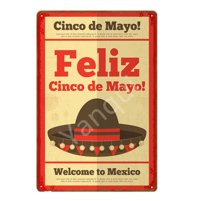 """Feliz Cinco de Mayo/Sombrero"" Vintage Metal Tin Sign"