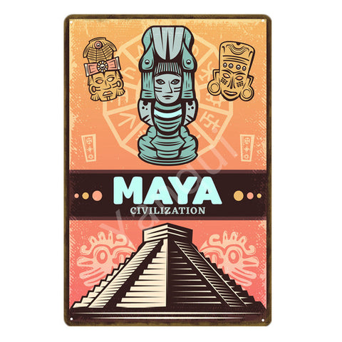"""Maya Civilization"" Vintage Metal Tin Sign"