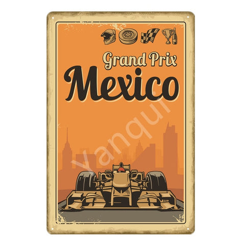 """Grand Prix Mexico"" Vintage Metal Tin Sign"