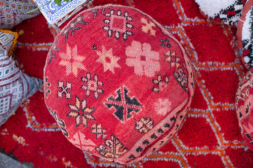 Oversized Vintage Moroccan Pouf // 24 in x 10 in (height)