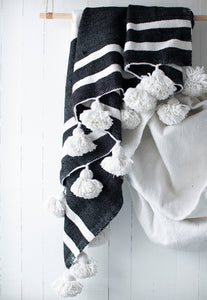 King Size Black and White Pom Pom Blanket