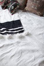Load image into Gallery viewer, King Size Black and White Pom Pom Blanket