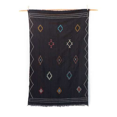 5ft 11in x 8ft / Extra Large Black Moroccan Sabra Kilim