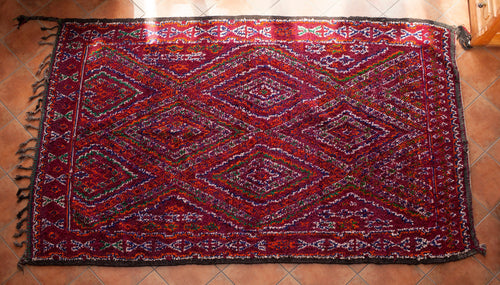 Vintage Rug from Boujjaad Morocco / 196cm x 277cm / 6ft 8inx 10ft 7in