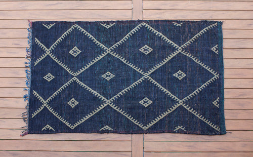 Indigo Dyed Moroccan Rug160cm x 254cm /// 5ft 3in x 8ft 4in