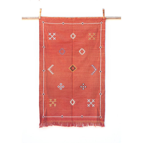 Small Faded Orange/Red Moroccan Sabra Kilim