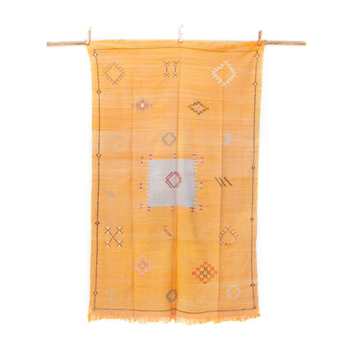 Faded Yellow Sabra Kilim with Gray Box Motif 137cm x 222cm /// 4ft 6in x 7ft 3in
