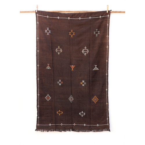 4ft 9in x 7ft 3in / Extra Large Brown Sabra Kilim Moroccan Rug