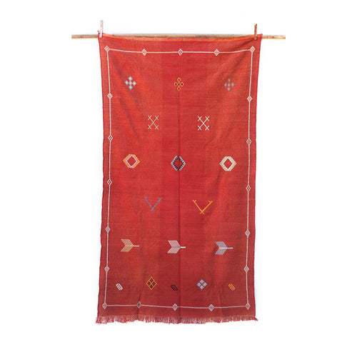 4ft 8in x 7ft 7in / Red Moroccan Sabra Kilim