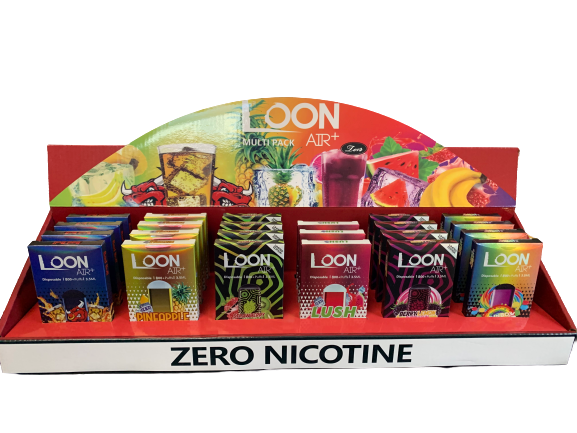 LOON AIR+ ZERO NICOTINE MULTIFLAVOR DISPLAY PACK 24CT - The Loon Wholesale