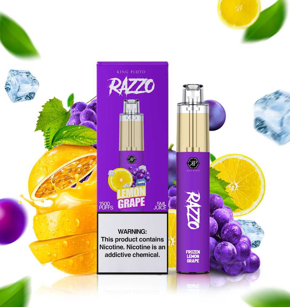KING PLUTO - RAZZO 10-PACK - GRAPE LEMON ICE - The Loon Wholesale