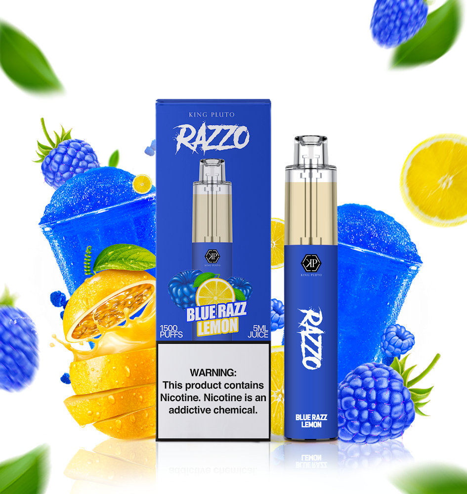 KING PLUTO - RAZZO 10-PACK - BLUE RAZZ LEMON - The Loon Wholesale