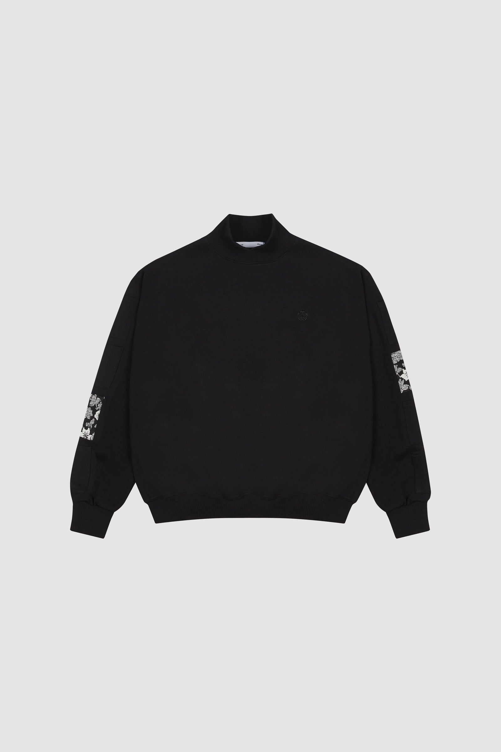 Black Aloha Mock Neck Sweatshirt