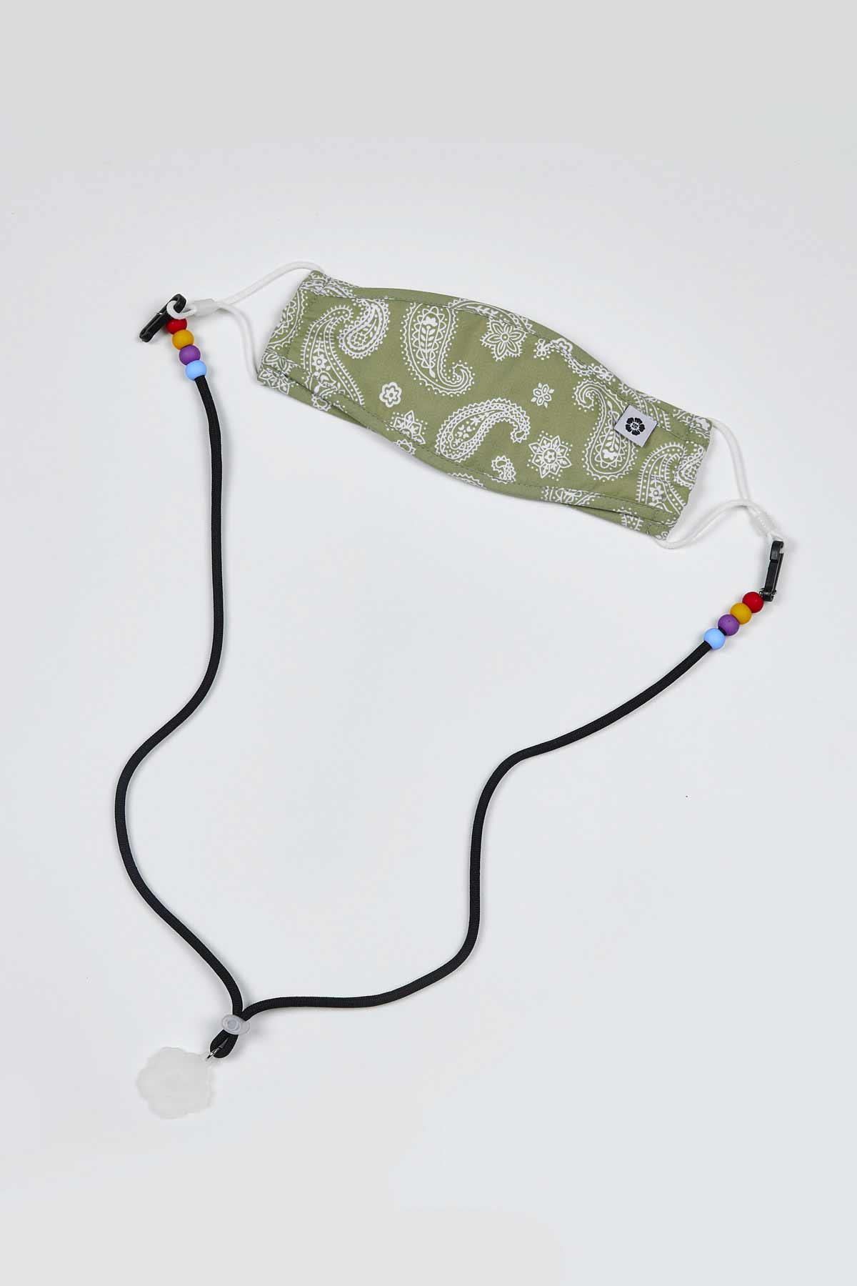Black Obang Beads Mask Lanyard