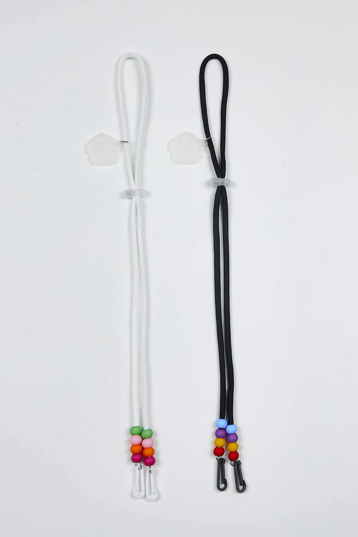 White Obang Beads Mask Lanyard