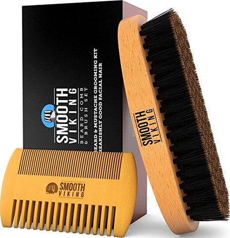 Boar Bristle Beard Brush & Wooden Comb