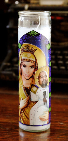 *RARE* Saint Kim and Baby Yeezus Prayer Candle (HOT)