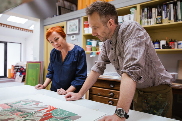Clare Curtis and Daniel Bugg at the Penfold Press