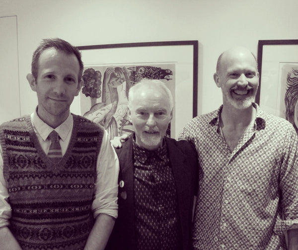 Daniel Bugg, Clive Hicks-Jenkins and James Russell smile for the camera at the Martin Tinney Gallery.