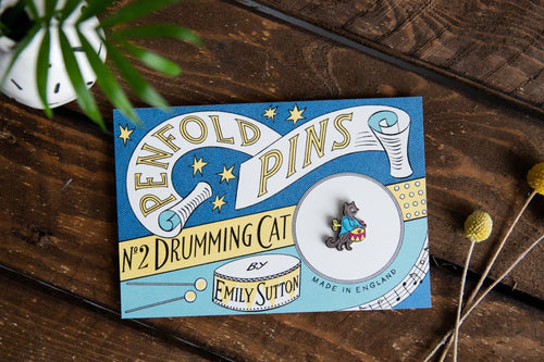 Drumming Cat - Penfold Pin Number 2 - Penfold Press