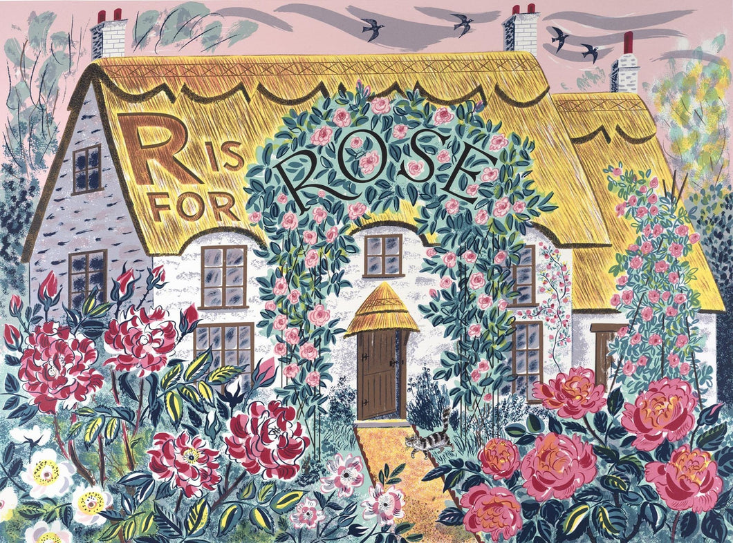 Emily Sutton's R is for Rose Screen print.