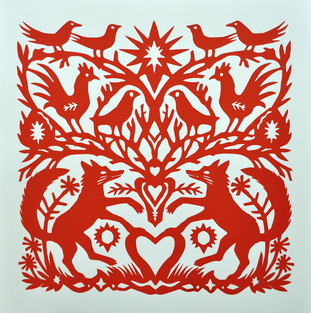 Red Foxes, an original screen print by Mark Hearld and the Penfold Press