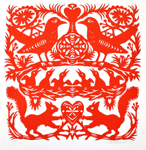 Red Squirrels, an original screen print by Mark Hearld and the Penfold Press