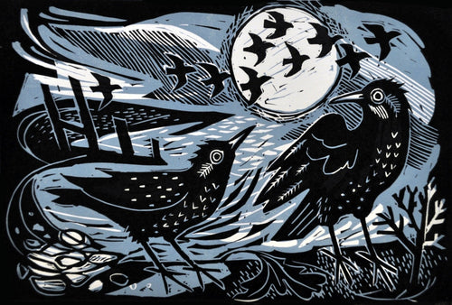 Starlings on the Shore, an original linocut by Mark Hearld