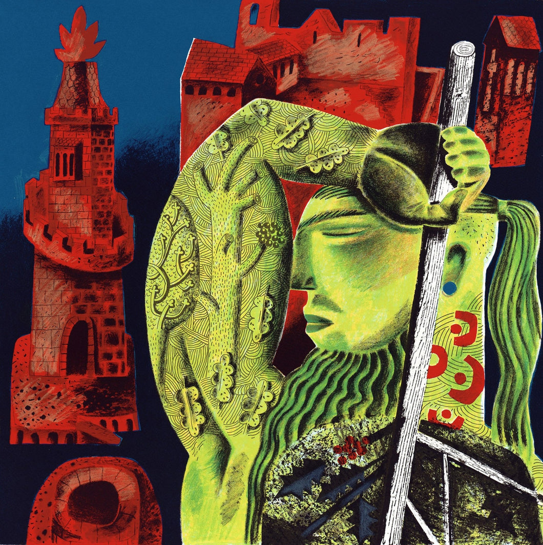 The Green Knight Arrives, an original screen print by Clive Hicks-Jenkins and the Penfold Press