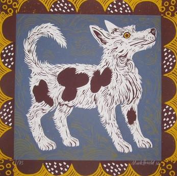 Tollie Dog, an original linocut by Mark Hearld and the Penfold Press